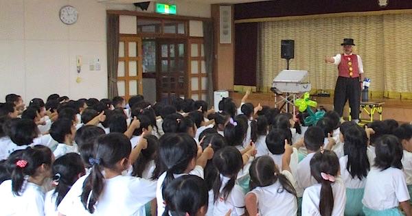 金城幼稚園でピエロの出張イベント