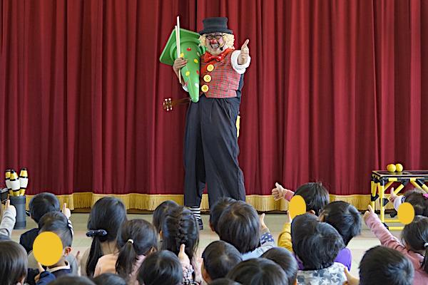 一色東部保育園で4回目のリピート公演!ピエロの出張イベントに笑顔がいっぱい♪愛知県西尾市