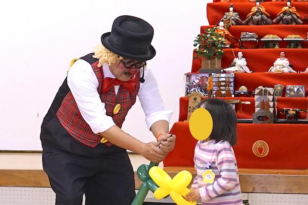 鹿田南保育園のお楽しみ会でピエロのリピート出張イベント♪愛知県北名古屋市