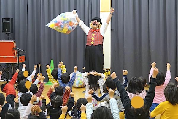 瀬戸北保育園で出張イベント!ドタバタピエロのコメディショー♪愛知県瀬戸市